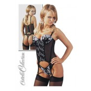 Black Lace Basque Suspender Set